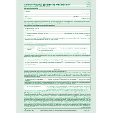 Rnk Arbeitsvertrag Gewerbliche Arbeitnehmer Hess Onlineshop