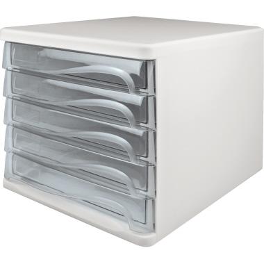 weiß//glasklar 5 Schübe helit Schubladenbox
