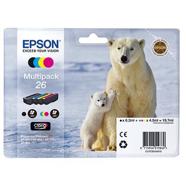 Epson Tintenpatrone  26 schwarz, cyan, magenta, gelb