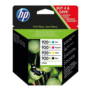 HP Tintenpatrone  920XL ca. 1.200 Seiten schwarz, ca. 3 x 700 Seiten farbig