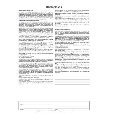 RNK Mietvertrag Wohnung 1 Durchschlag inkl. Hausordnung