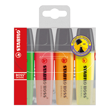 STABILO® Textmarker BOSS® ORIGINAL  nachfüllbar 4 St./Pack.