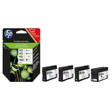HP Tintenpatrone  950XL, 951XL schwarz, cyan, magenta, gelb