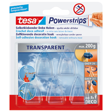 tesa® Haken Powerstrips® transparent Deco