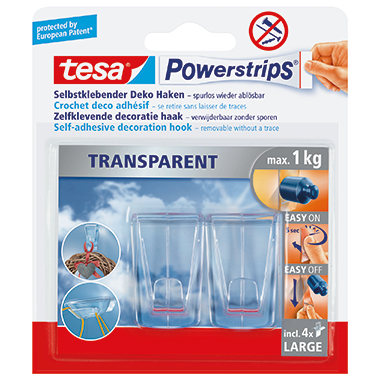 tesa® Haken Powerstrips® transparent XL