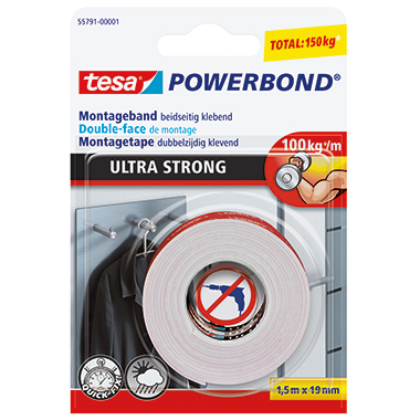 tesa® Montageklebeband Powerbond® Ultra Strong  19 mm x 1,5 m (B x L)