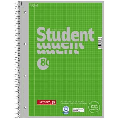 BRUNNEN Collegeblock Student Recycling  DIN A4 kariert