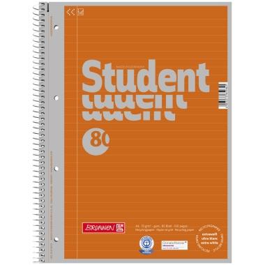 BRUNNEN Collegeblock Student Recycling  DIN A4 liniert
