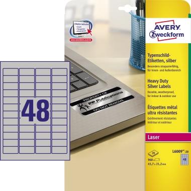 Avery Zweckform Typenschildetikett 45,7 x 21,2 mm (B x H)