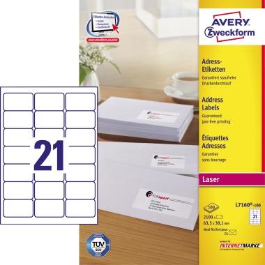Avery Zweckform Adressetikett  63,5 x 38,1 mm (B x H) 2.100 Etik./Pack.