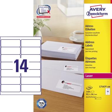 Avery Zweckform Adressetikett  99,1 x 38,1 mm (B x H) 1.400 Etik./Pack.