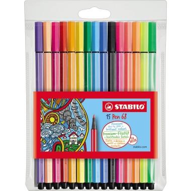 STABILO® Fasermaler Pen 68  15 St./Pack.