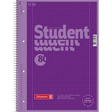 BRUNNEN Collegeblock Student Colour Code  kariert mit Rand innen/außen