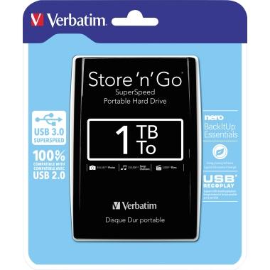 Verbatim Festplatte extern Store 'n' Go USB 3.0  1 Tbyte schwarz