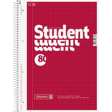 BRUNNEN Collegeblock Student  DIN A4 kariert mit Rand 80 Bl.