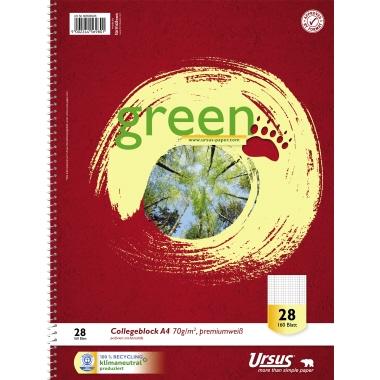 Ursus® Collegeblock Green premiumweiß  DIN A4 160 Bl.