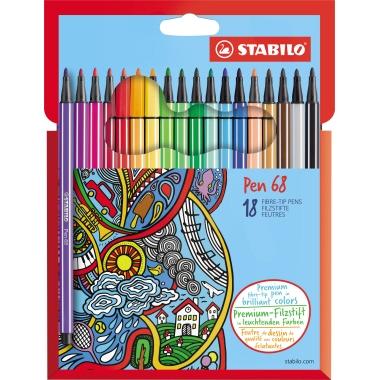 STABILO® Fasermaler Pen 68  18 St./Pack.