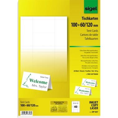Sigel Tischkarte  100 x 60/120 mm (B x H)