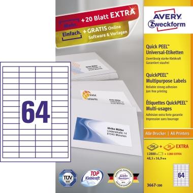 Avery Zweckform Universaletikett  48,5 x 16,9 mm (B x H)
