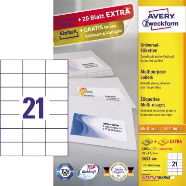 Avery Zweckform Universaletikett  4.640 Etik./Pack.