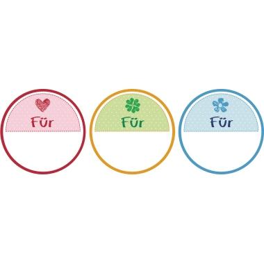 Z-Design Stickeretikett  rund Geschenkbeschriftung 3 Motive Für