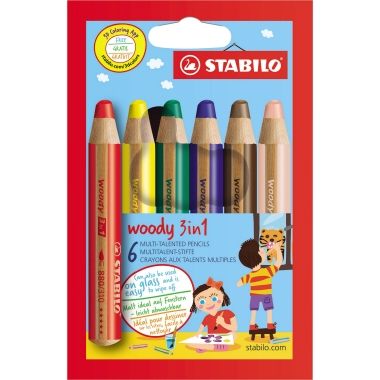 STABILO® Aquarellstift woody 3 in 1   6 St./Pack.