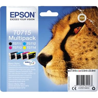 Epson Tintenpatrone  T0715 schwarz, cyan, magenta, gelb