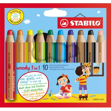 STABILO® Aquarellstift woody 3 in 1   10 St./Pack.