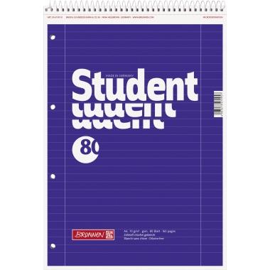 BRUNNEN Notizblock Student  liniert mit Rand innen/außen