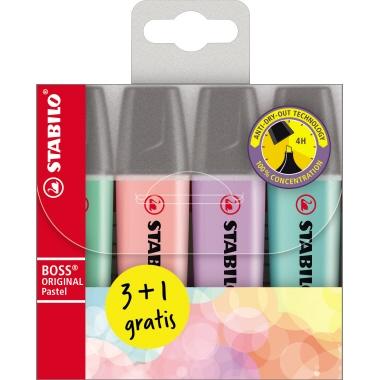 STABILO® Textmarker BOSS® ORIGINAL  nicht nachfüllbar 4 St./Pack.
