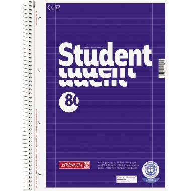 BRUNNEN Collegeblock Student Recycling  DIN A4 liniert mit Rand innen/außen