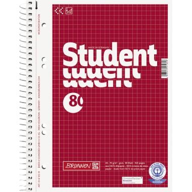 BRUNNEN Collegeblock Student Recycling  DIN A5 kariert mit Rand innen/außen