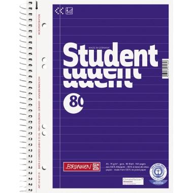 BRUNNEN Collegeblock Student Recycling  DIN A5 liniert mit Rand innen/außen