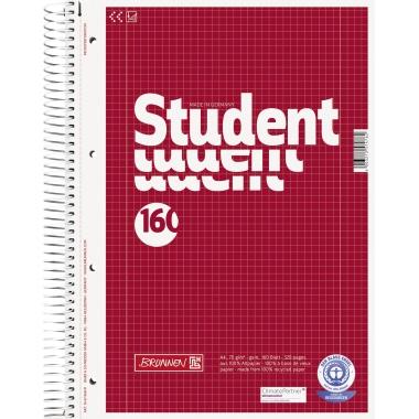 BRUNNEN Collegeblock Student Recycling DIN A4 kariert mit Rand innen/außen