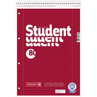 BRUNNEN Notizblock Student Recycling  kariert mit Rand innen/außen