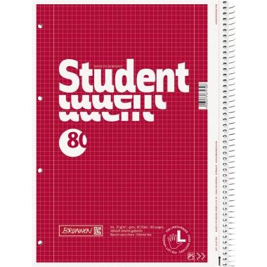 BRUNNEN Collegeblock Student Linkshänder  kariert mit Rand innen/außen