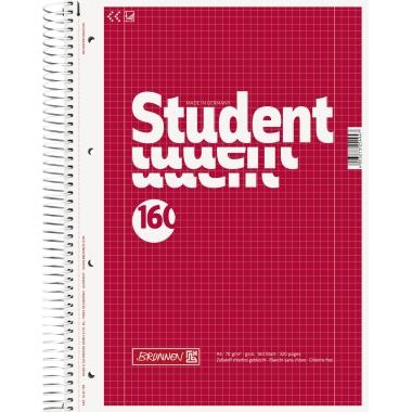 BRUNNEN Collegeblock Student  DIN A4 kariert mit Rand innen/außen 160 Bl.