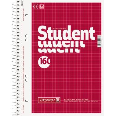 BRUNNEN Collegeblock Student  DIN A5 kariert 160 Bl.