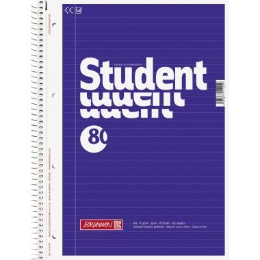 BRUNNEN Collegeblock Student  DIN A4 liniert mit Rand 80 Bl.