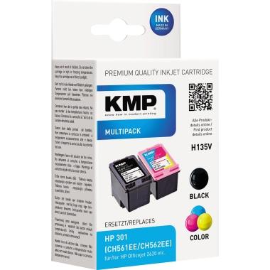 KMP Tintenpatrone HP 301  schwarz, cyan/magenta/gelb