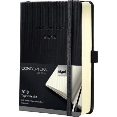 Sigel Buchkalender CONCEPTUM® 2018  DIN A5 1 Tag/1 Seite, Sa/So 1 Gummibandverschluss 400 Seiten