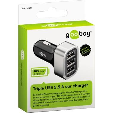 Goobay® Kfz Ladegerät Triple 3 USB Ports