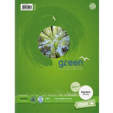Ursus® Collegeblock Green premiumweiß DIN A4 80 Bl.
