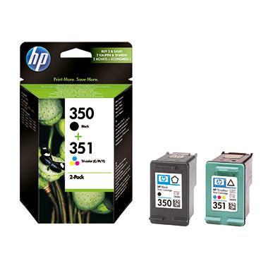 HP Tintenpatrone  350+351 schwarz, mehrfarbig